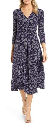 Chaus Etched Floral Faux Wrap Midi Dress
