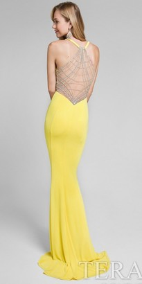 Terani Couture Beaded Webbed Back Fitted Prom Dress $394 thestylecure.com