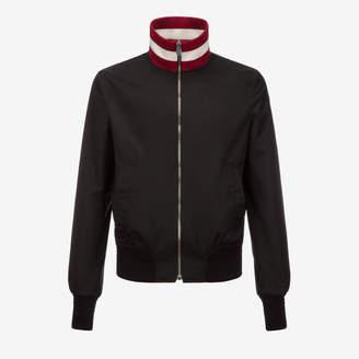 Bally Stripe Collar Nylon Jacket Black, Men's polyester techno blouson in black