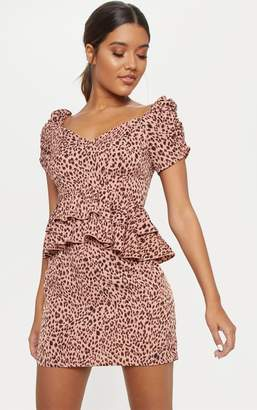 PrettyLittleThing Pink Leopard Print Tiered Frill Mini Dress f4fef267b