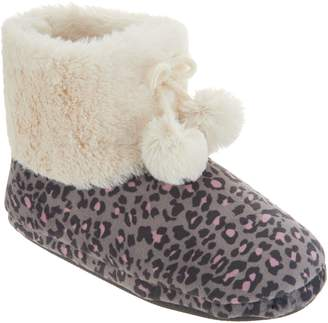 Cuddl Duds Faux Fur Lined Ankle Boot Slipper with Foam Insole