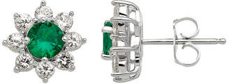 FINE JEWELRY Lab-Created Emerald and White Sapphire Starburst Sterling Silver Earrings
