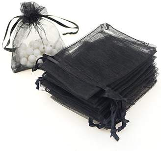 """AKStore 100PCS 4x6"""" (10x15cm) Drawstring Organza Jewelry Favor Pouches Wedding Party Festival Gift Bags Candy Bags (Black)"""