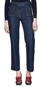 Valentino Women's V-Ornament Wide-Leg Jeans - Blue