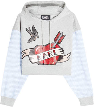Karl Lagerfeld Paris Sails Cropped Hoodie with Striped Shirt Sleeves