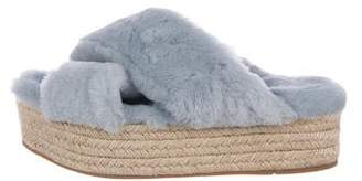 Miu Miu Shearling Espadrille Sandals