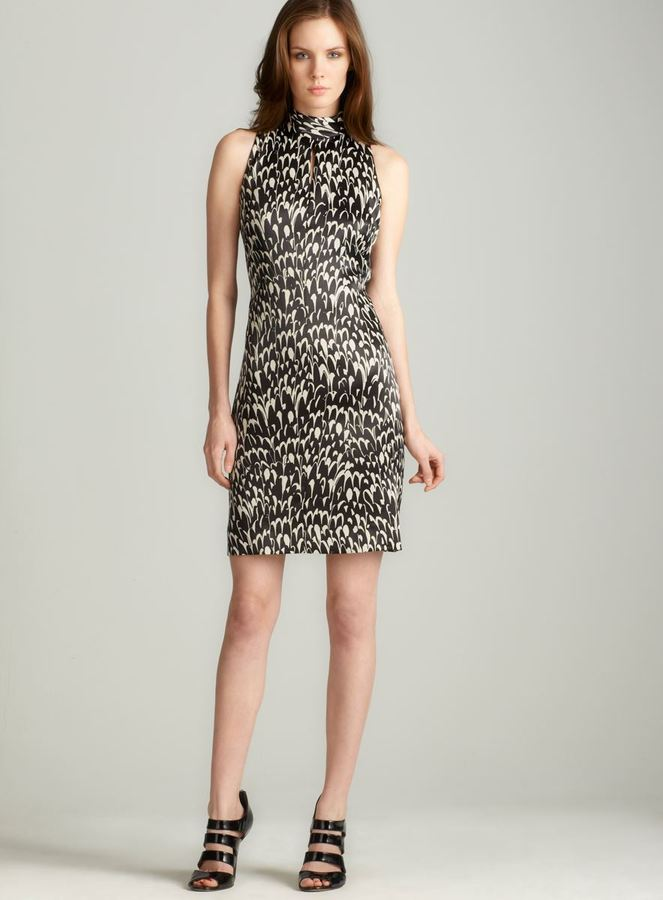Tahari printed Keyhole Dress
