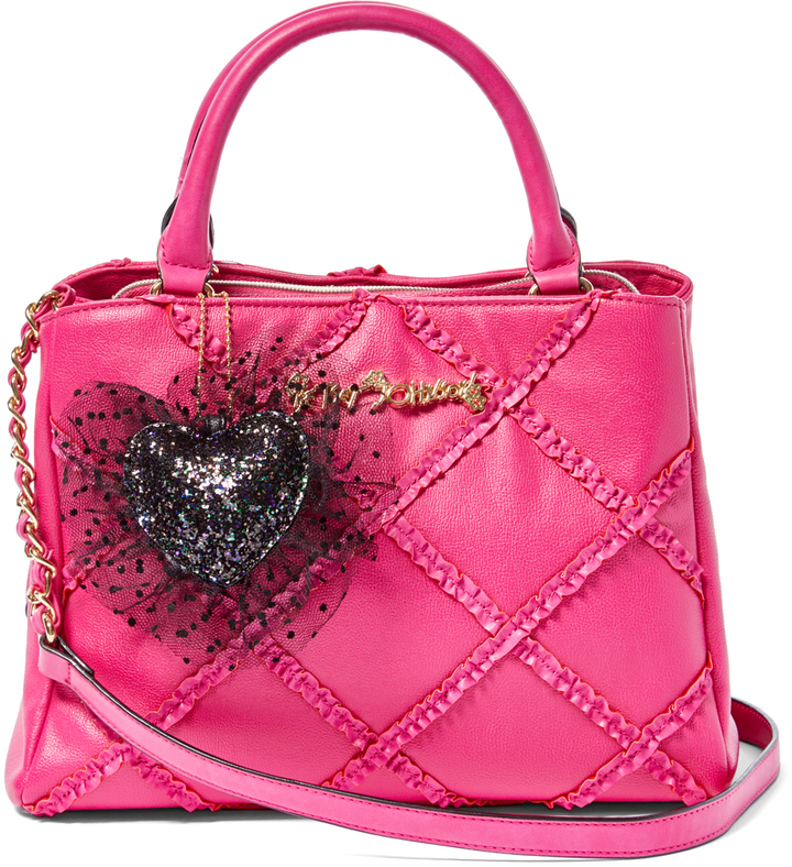 Betsey Johnson Fuchsia Heart Quilted Satchel