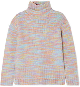 Sies Marjan Yuki Mélange Merino Wool And Silk-blend Turtleneck Sweater - Pink