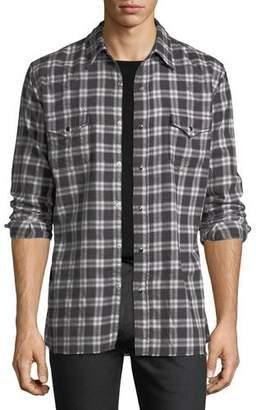 Saint Laurent Classic Flannel Plaid Western Shirt