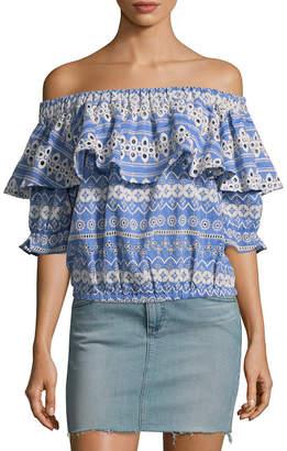Love Sam Shifli Floral Stripe Off-The-Shoulder Top