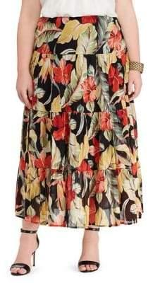 Chaps Plus Olive Full Skirt