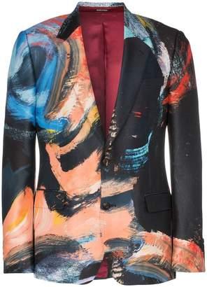 Alexander McQueen Painters Canvas print single breasted wool silk blend blazer