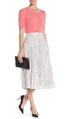 Kate Spade Metallic Pleated Silk Blend Midi Skirt