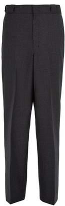 Prada Checked Wool Trousers - Mens - Grey