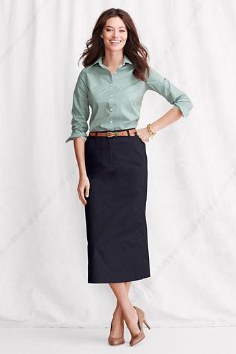 Lands' End Women's Long Chino Skirt