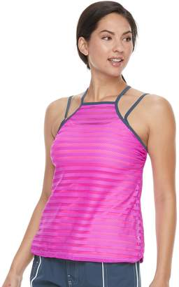 Free Country Women's Bust Enhancer Mock-Layer Tankini Top