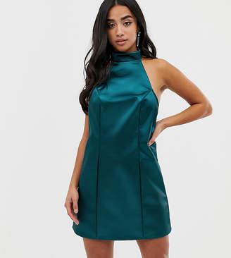 Asos DESIGN Petite Exclusive Bonded Satin Mini Dress