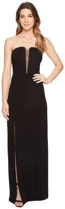 Halston Strapless Deep V-Neck Fitted Gown Women's Dress