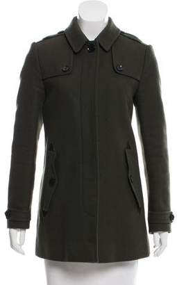 Burberry Leather-Trimmed Wool Coat