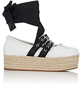 Miu Miu Women's Buckled-Strap Leather Sneakers - Wht.&blk.