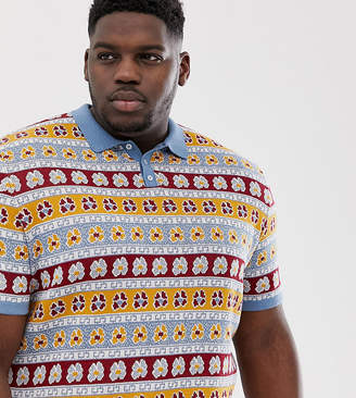 Asos Design DESIGN Plus knitted polo with floral design