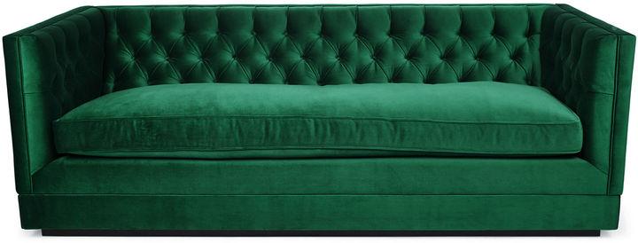 Kim Salmela Draper 88 Tuxedo Sofa, Emerald Velvet