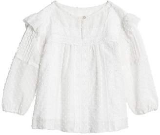 Burberry TEEN Ruffle Detail Cotton Silk Blend Top