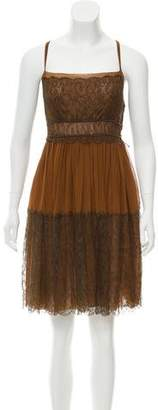 Bottega Veneta Lace-Trimmed Sleeveless Dress