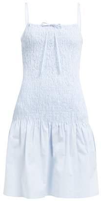 Solid & Striped Smocked Cotton Poplin Dress - Womens - Light Blue