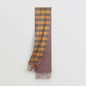Burberry Long Reversible Vintage Check Double-faced Cashmere Scarf, Purple