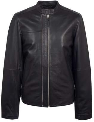 Pretty Green Zip Up Leather Biker Jacket