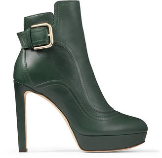 Jimmy Choo BRITNEY 115 Dark Green Smooth Leather Boots with Gold Buckle