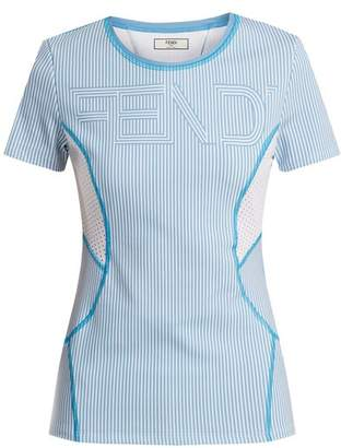 Fendi Logo Print Striped Performance T Shirt - Womens - Light Blue