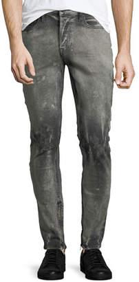 Hudson Men's Vaughn Skinny Ankle-Zip Deconstructed Jeans