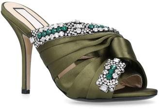 No.21 No. 21 Embellished Satin Knotted Mules 100