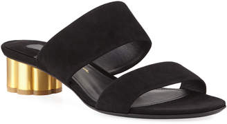 Salvatore Ferragamo Belluno Suede Two-Band Mule Sandals, Black