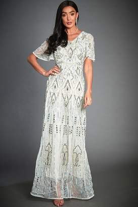 Isabella Collection Jywal London Off-White Embellished Evening Maxi Dress