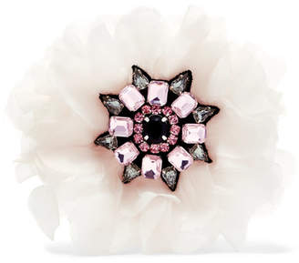 Etro Silk-organza Crystal Brooch - White