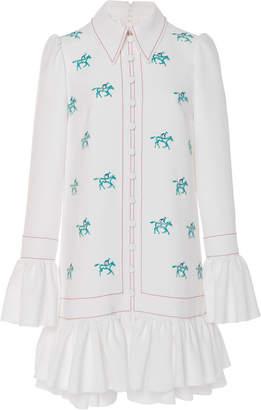 Carolina Herrera Long-Sleeve Embroidered Mini Dress