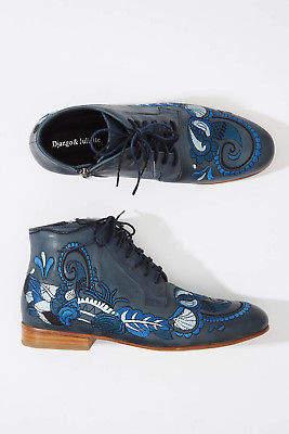 Django & Juliette NEW Womens Boots Lulent Lace Up Flat NavyBlue
