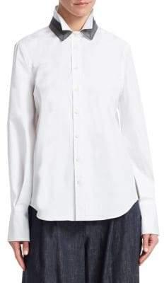 Brunello Cucinelli Double Collar Cotton Poplin Shirt