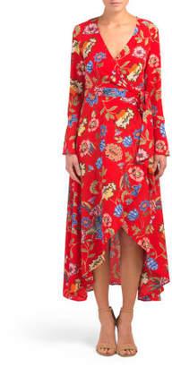 Juniors Bell Sleeve Wrap Maxi Dress