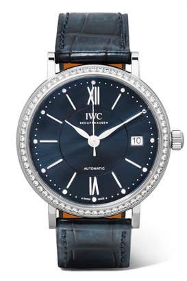 IWC SCHAFFHAUSEN Portofino Automatic 37 Alligator, Stainless Steel And Diamond Watch - Silver