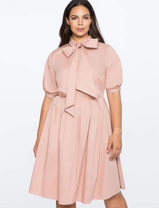 ELOQUII Fit and Flare Dress with Oversized Bow