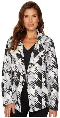 Vince Camuto Broken Houndstooth Faux Fur Coat Women's Coat