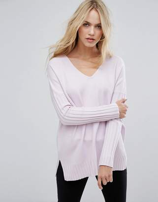 French Connection Hari Ribbed Sleeve V Neck Sweater