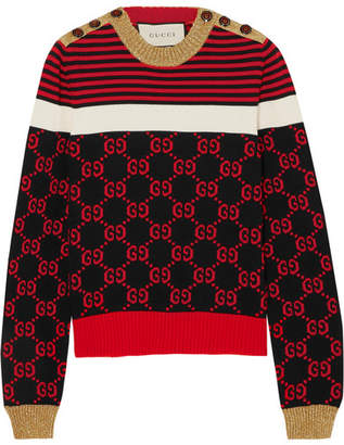 Gucci Metallic-trimmed Intarsia Cotton Sweater - Burgundy