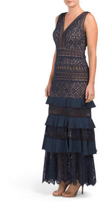 Petite Lace Gown With Tiered Ruffles