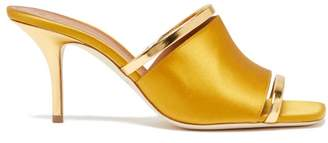 Malone Souliers Laney Leather And Satin Mules - Womens - Yellow Gold